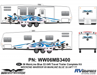 Weekend Warrior Mainline - 2006-2007 Weekend Warrior Mainline TT 32-34' Travel Trailer Blue - 19 piece 2006 Warrior Mainline 32-34' TT Complete Graphics Kit