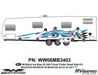 Weekend Warrior Mainline - 2006-2007 Weekend Warrior Mainline TT 32-34' Travel Trailer Blue - 8 piece 2006 Warrior Mainline 32-34' TT Roadside Graphics Kit