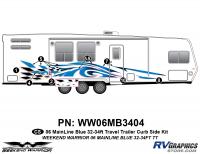 Weekend Warrior Mainline - 2006-2007 Weekend Warrior Mainline TT 32-34' Travel Trailer Blue - 8 piece 2006 Warrior Mainline 32-34' TT Curbside Graphics Kit