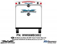 2 piece 2006 Warrior Mainline 26-30' TT Rear Graphics Kit