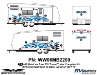 15 piece 2006 Warrior Mainline 26-30' TT Complete Graphics Kit