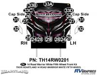 Road Warrior - 2014 Road Warrior FW-Fifth Wheel-White Version - 20 Piece 2014 Road Warrior FW-WHITE Front Graphics Kit