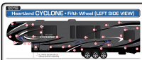 14 Piece 2017 Cyclone Blue Partial Roadside Graphics Kit - Image 2