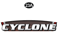 Cyclone - 2015 Cyclone FW-Fifth Wheel Red on White - Front Cyclone Name