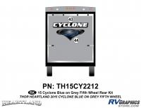 2 Piece 2014 Cyclone FW Rear Graphics Kit Blue Gray Version