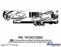 31 Piece 2014 Cyclone FW Roadside Graphics Kit Blue White Version