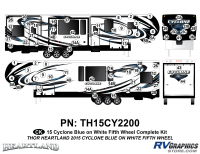 74 Piece 2014 Cyclone FW Complete Graphics Kit Blue White Version