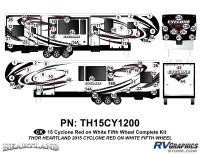 Cyclone - 2015 Cyclone FW-Fifth Wheel Red on White - 74 Piece 2014 Cyclone FW Complete Graphics Kit Red White Version