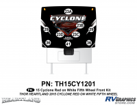Cyclone - 2015 Cyclone FW-Fifth Wheel Red on White - 9 Piece 2014 Cyclone FW Front Graphics Kit Red White Version