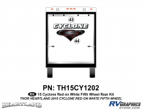 Cyclone - 2015 Cyclone FW-Fifth Wheel Red on White - 2 Piece 2014 Cyclone FW Rear Graphics Kit Red White Version
