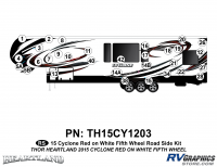 Cyclone - 2015 Cyclone FW-Fifth Wheel Red on White - 31 Piece 2014 Cyclone FW Roadside Graphics Kit Red White Version