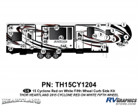 Cyclone - 2015 Cyclone FW-Fifth Wheel Red on White - 32 Piece 2014 Cyclone FW Curbside Graphics Kit Red White Version