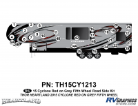 Cyclone - 2015 Cyclone FW-Fifth Wheel Red on Gray - 31 Piece 2014 Cyclone FW Roadside Graphics Kit Red Gray Version