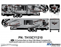 Cyclone - 2015 Cyclone FW-Fifth Wheel Red on Gray - 74 Piece 2014 Cyclone FW Complete Graphics Kit Red Gray Version