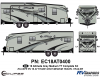 52 Piece 2018 Attitude Med Travel Trailer Gray Complete Graphics Kit