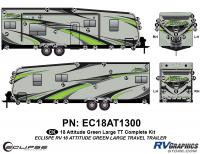 64 Piece 2018 Attitude Lg Travel Trailer Green Complete Graphics Kit
