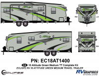 52 Piece 2018 Attitude Med Travel Trailer Green Complete Graphics Kit