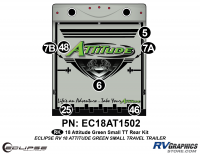 7 Piece 2018 Attitude Sm Travel Trailer Green Rear Graphics Kit