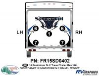 Sandstorm - 2015 Sandstorm Med TT SLC-Medium Travel Trailer - 5 Piece 2015 Sandstorm SLC Lg TT Rear Graphics Kit