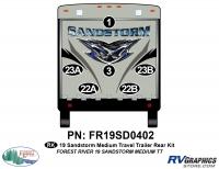 Sandstorm - 2019 Sandstorm Med TT-Medium Travel Trailer - 6 Piece 2019 Sandstorm Med TT Rear Graphics Kit