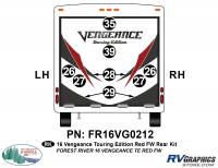 Vengeance - 2016 Vengeance  FW-Fifth Wheel Red Touring Edition - 10 Piece 2016 Vengeance Red FW Rear Graphics Kit