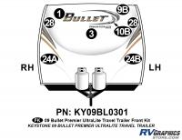 Bullet - 2009 Bullet TT-Travel Trailer - 8 Piece 2009 Bullet TT Front Graphics Kit