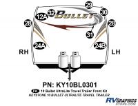 Bullet - 2010 Bullet TT-Travel Trailer - 9 Piece 2010 Bullet TT Front Graphics Kit