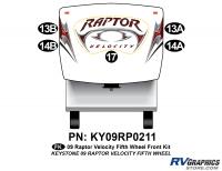 Raptor - 2009 Raptor Velocity FW-Fifth Wheel - 5 Piece 2009 Raptor Velocity Front Graphics Kit