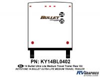 Bullet - 2014-2015 Bullet Med TT-Medium Travel Trailer - 2 piece 2014 Bullet Med Travel Trailer Rear Graphics Kit