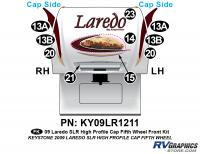 10 Piece 2009 Laredo SLR FW Hi Profile Cap Front Graphics Kit